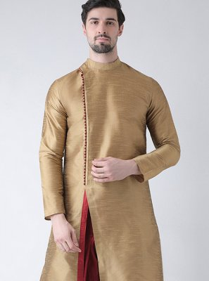 Gold Plain Kurta Pyjama