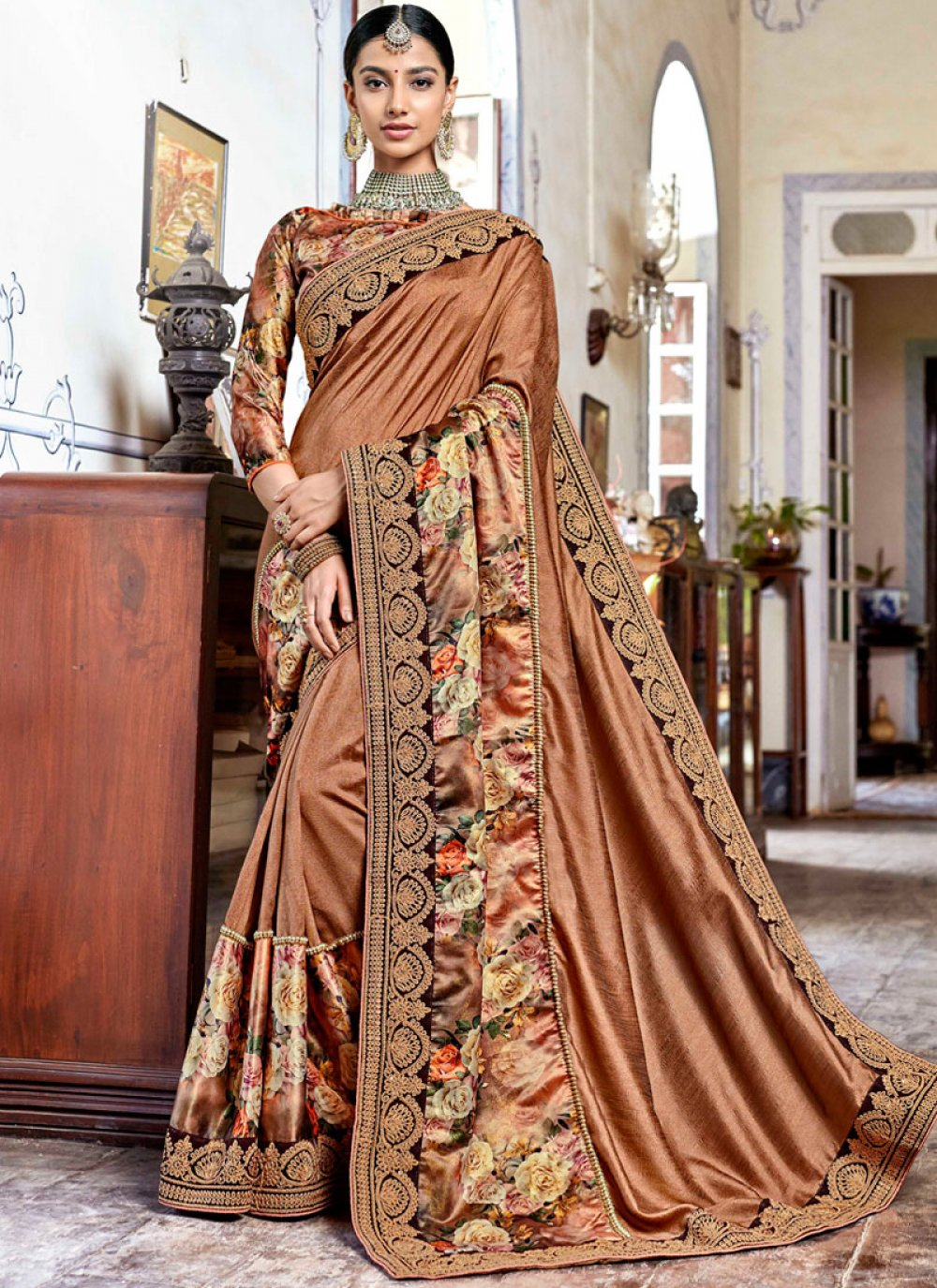 Gold Printed Georgette Designer Traditional Saree