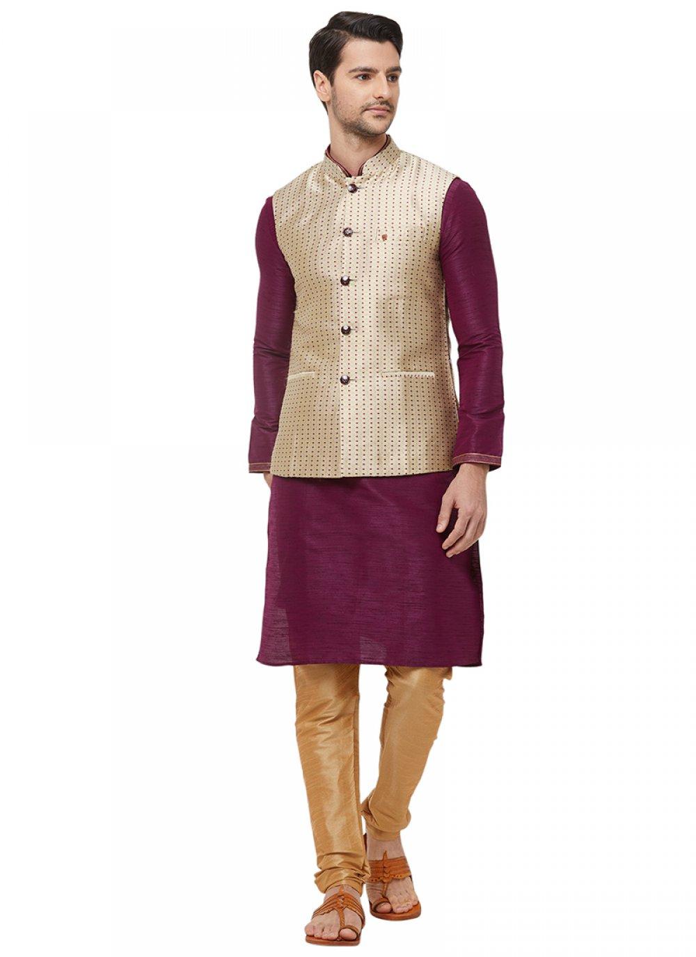 Gold Printed Nehru Jackets