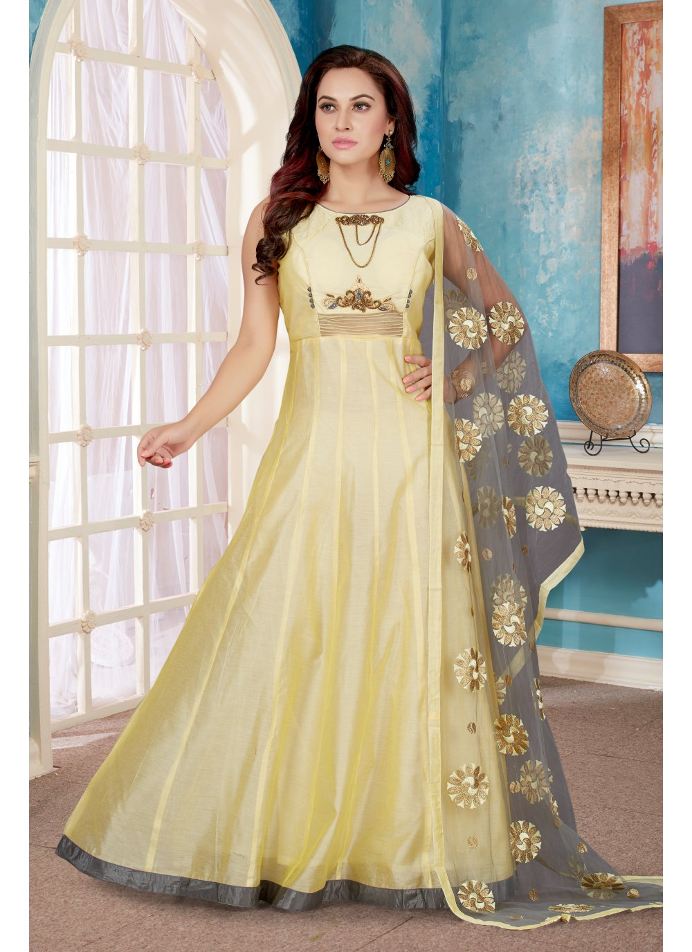 Gold Readymade Designer Gown