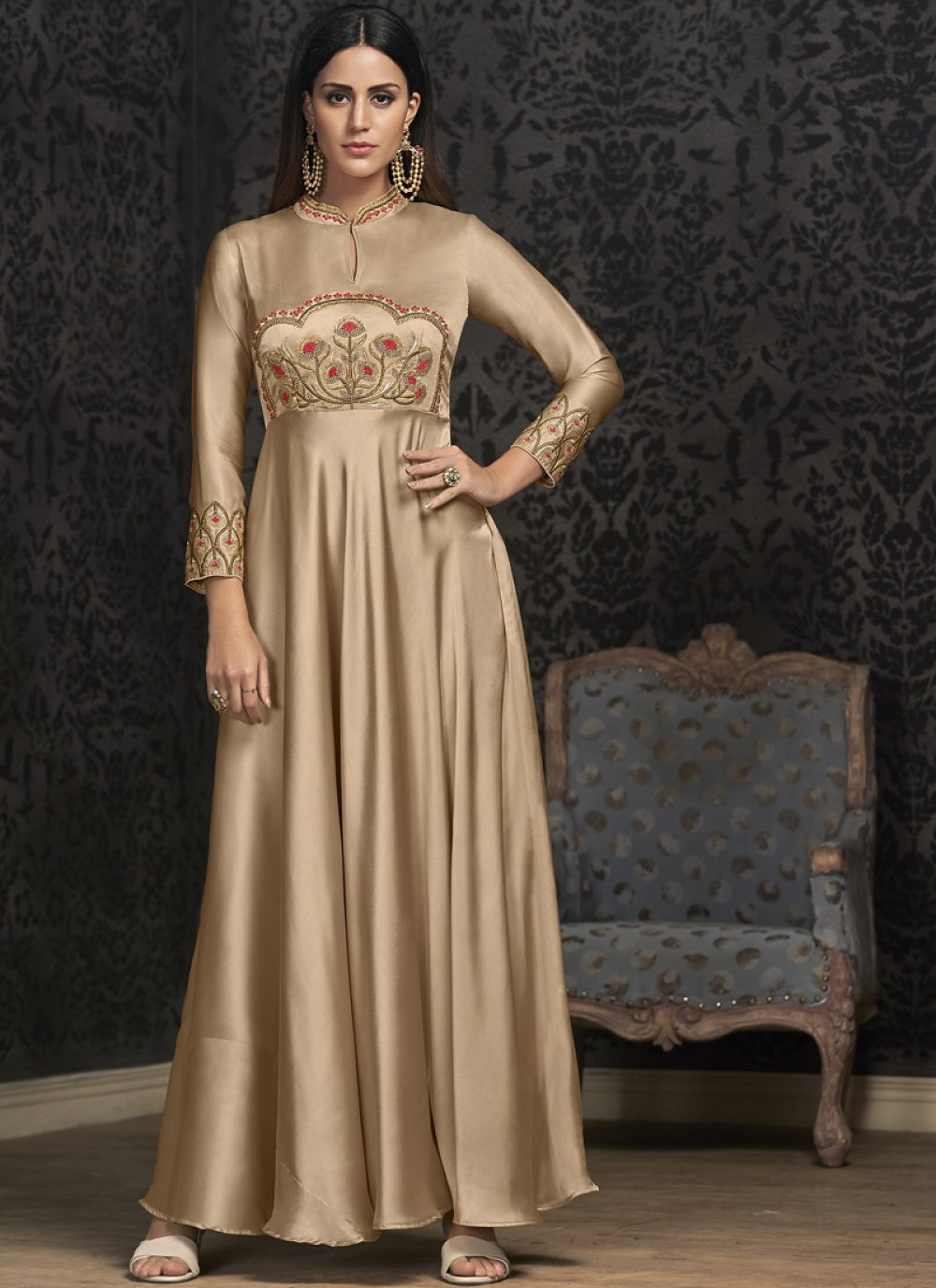 Beige Readymade Gown