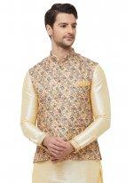 Gold Reception Art Silk Nehru Jackets
