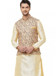 Gold Reception Art Silk Nehru Jackets