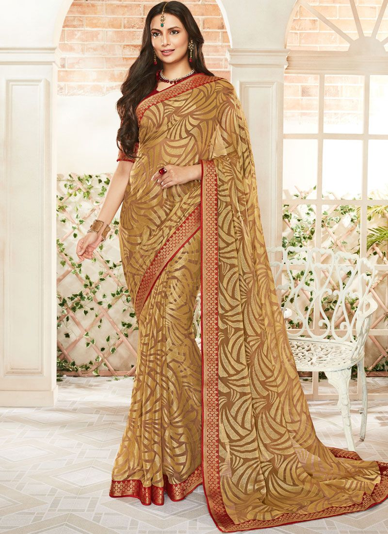 Gold Reception Trendy Saree