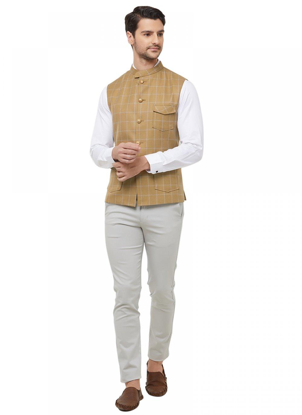 Gold Sangeet Blended Cotton Nehru Jackets