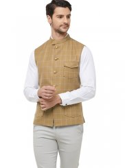 Gold Sangeet Blended Cotton Nehru Jackets