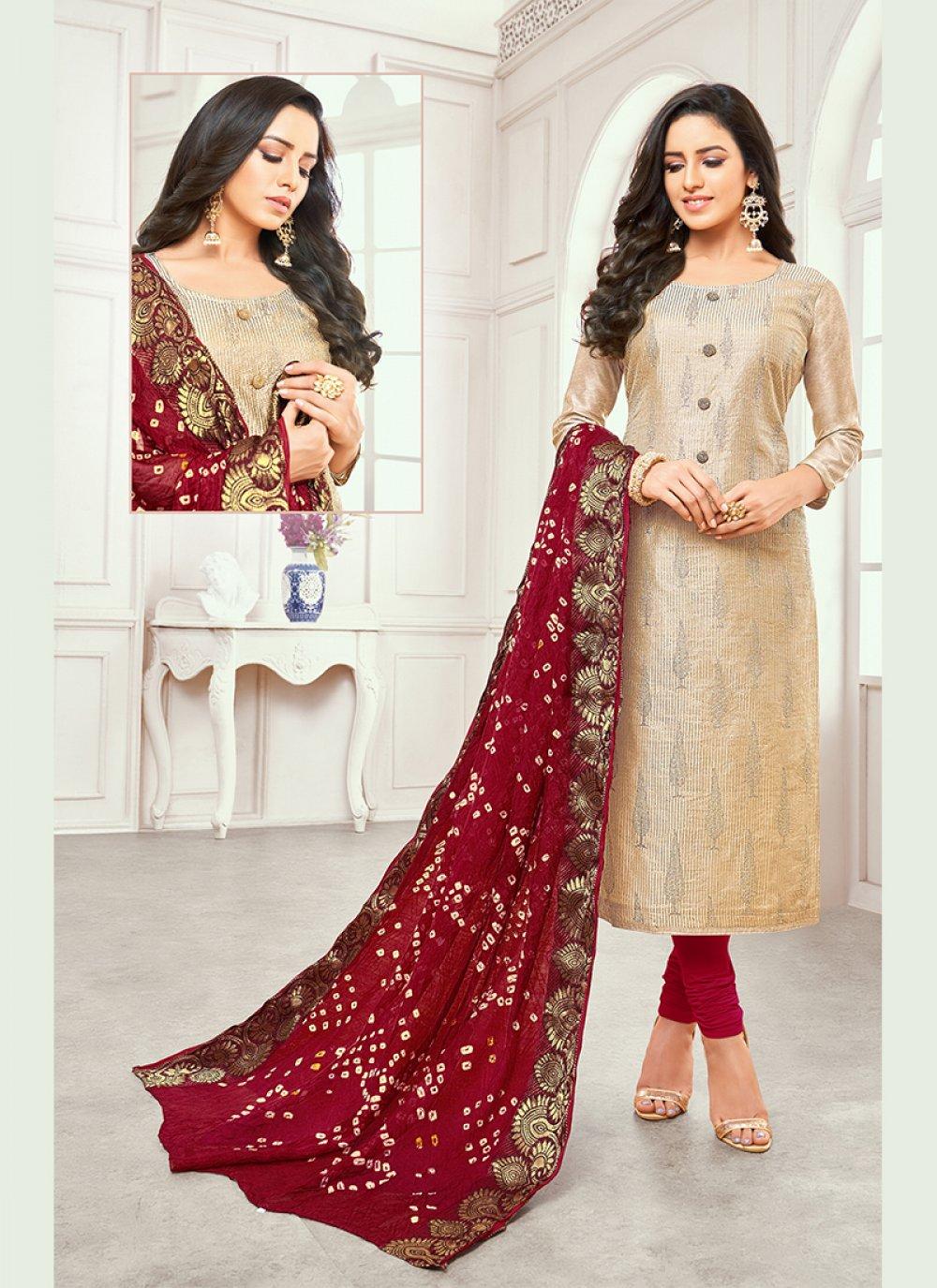 Gold Satin Silk Printed Salwar Kameez