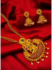 Gold Stone Reception Necklace Set