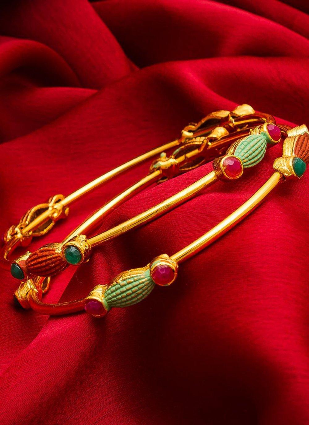 Gold Stone Work Ceremonial Bangles
