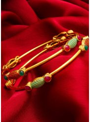 Gold Stone Work Ceremonial Bangles