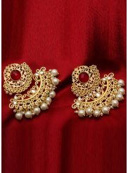 Gold Stone Work Ceremonial Ear Rings