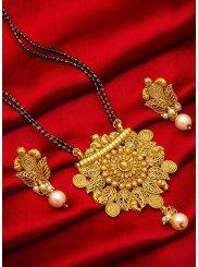 Gold Stone Work Mangalsutra