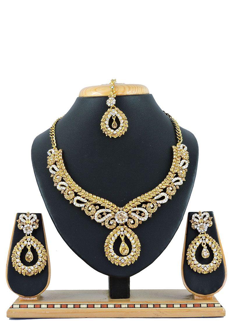 Gold Stone Work Necklace Set Buy Online