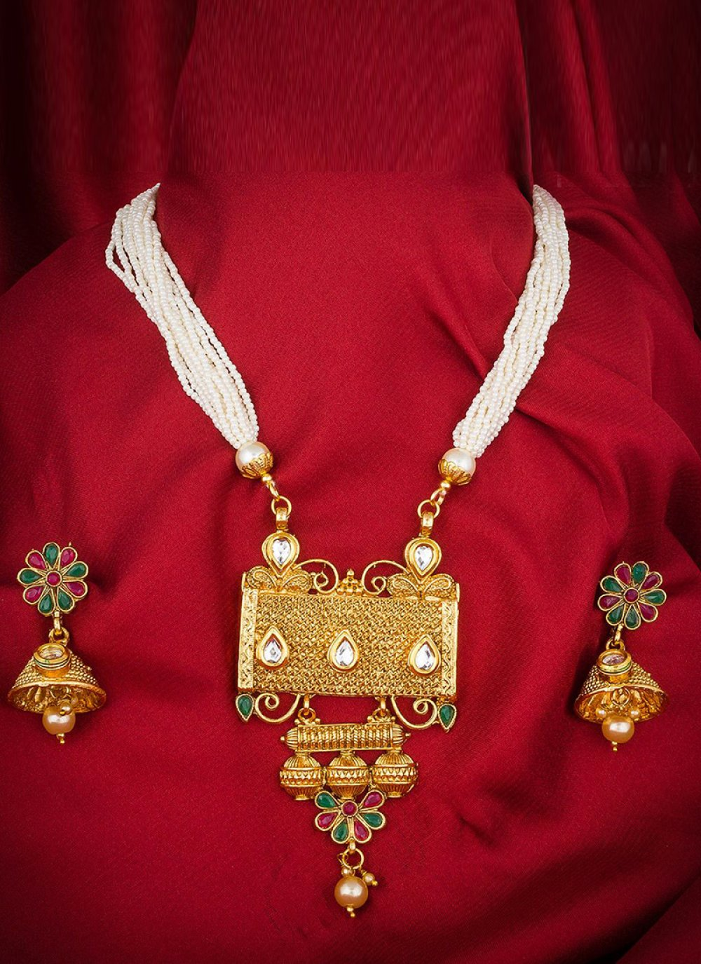 Gold Stone Work {occasion} Necklace Set