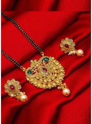 Gold Stone Work Reception Mangalsutra
