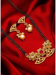 Gold Stone Work Reception Mangalsutra