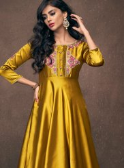 Gold Tafeta Silk Readymade Gown