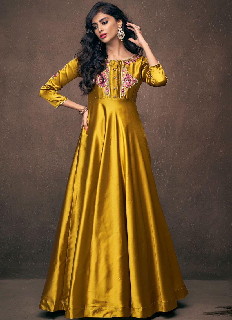 Gold Tafeta Silk Readymade Gown