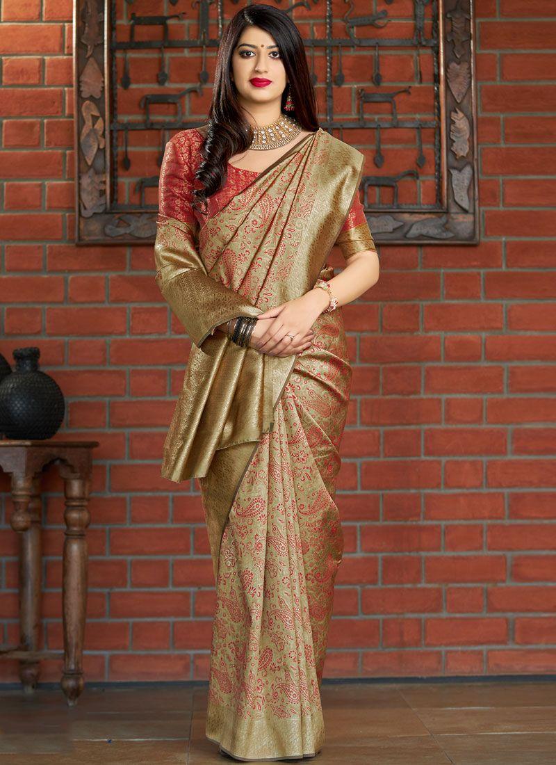 Gold Weaving Banarasi Silk Traditional Saree