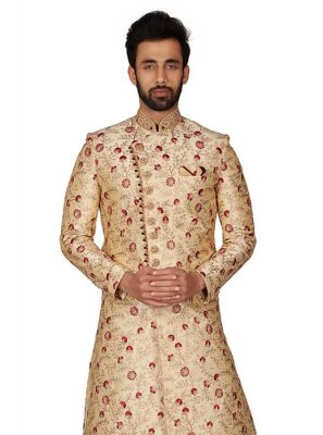 Gold Wedding Brocade Kurta Pyjama
