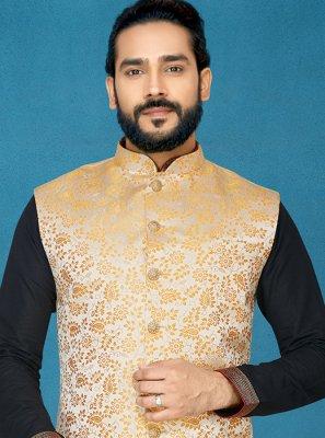 Gold Wedding Jacquard Nehru Jackets
