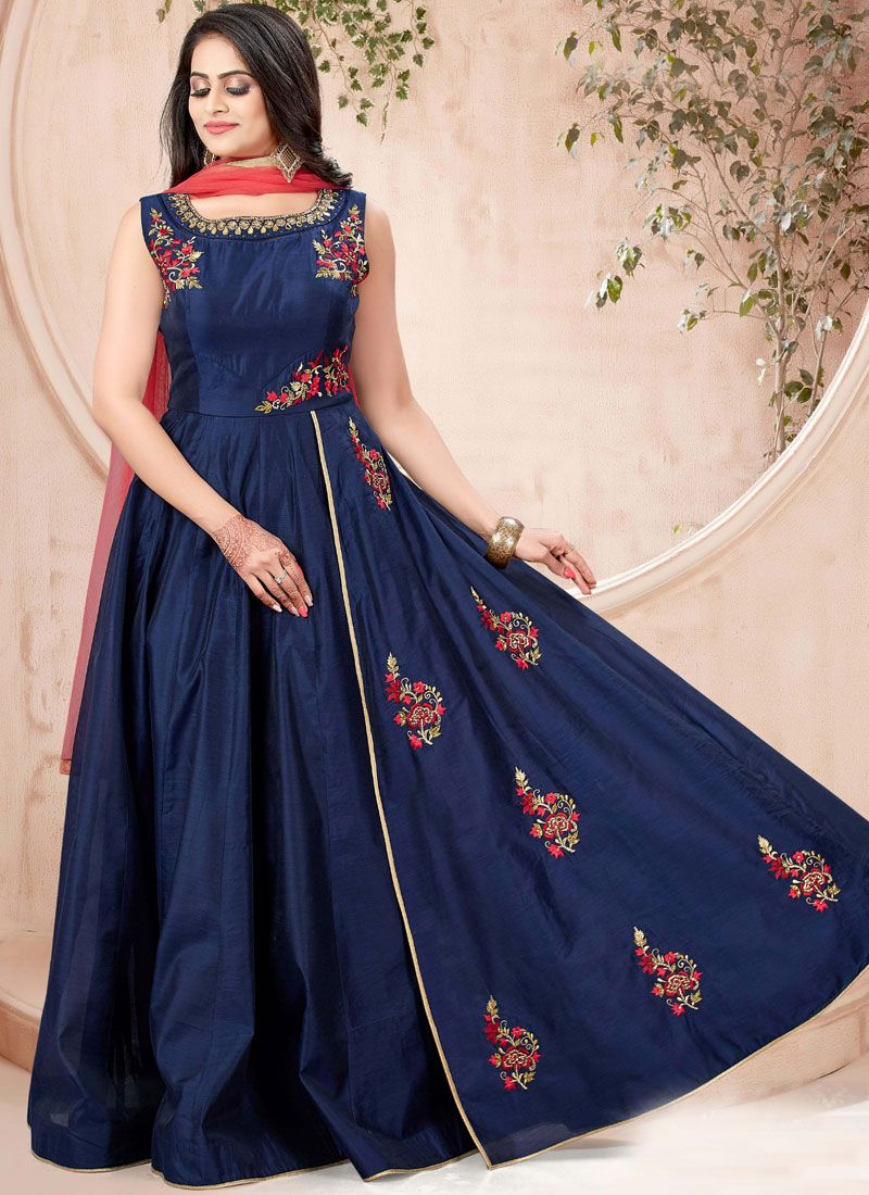 Gown Handwork Chanderi in Blue