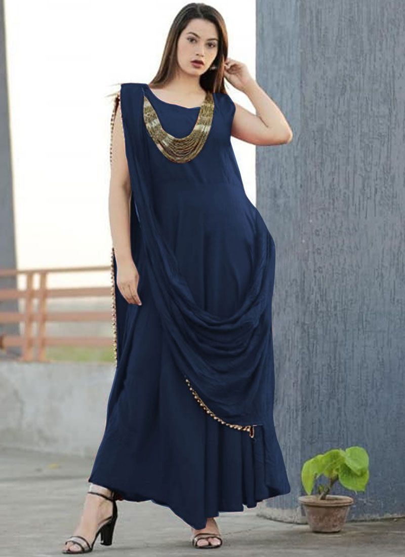 Gown Plain Rayon in Navy Blue