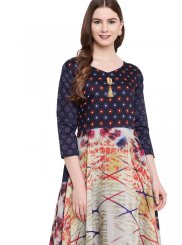 Gown Print Georgette in Multi Colour