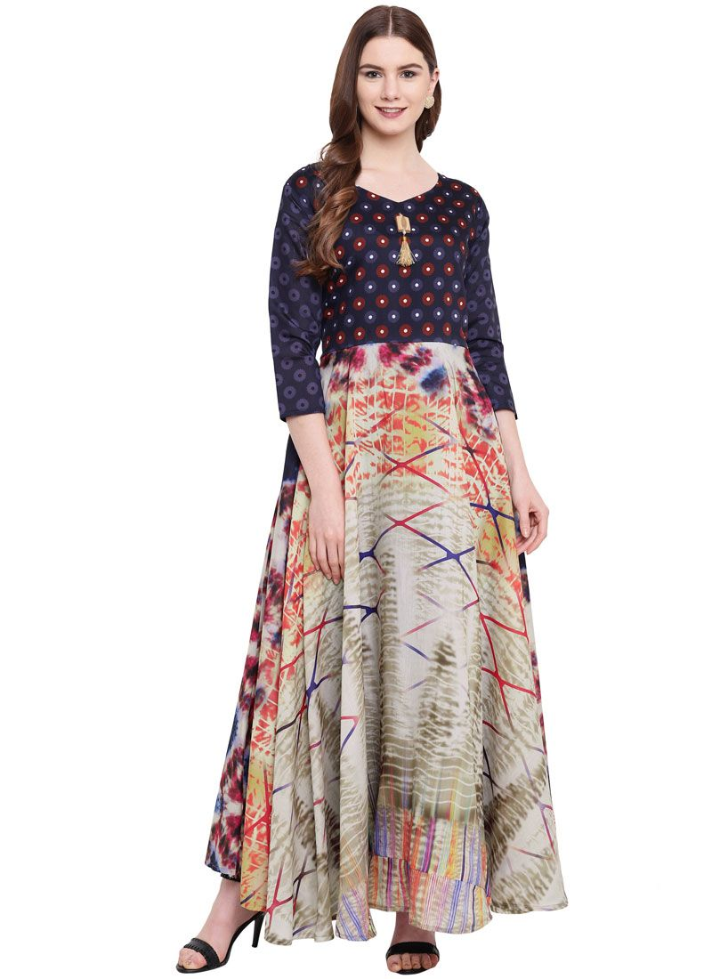 Gown Print Georgette in Multi Colour