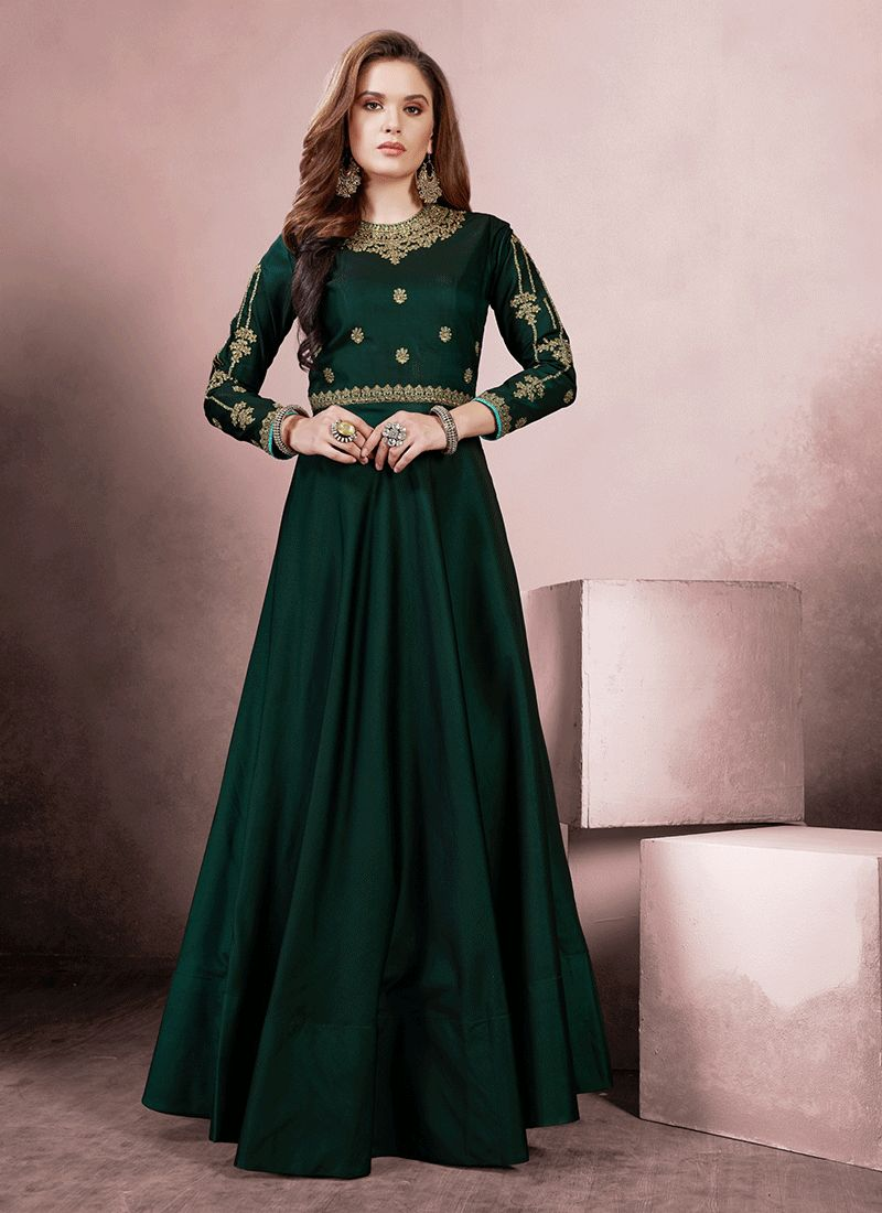 Green Aari Party Readymade Gown