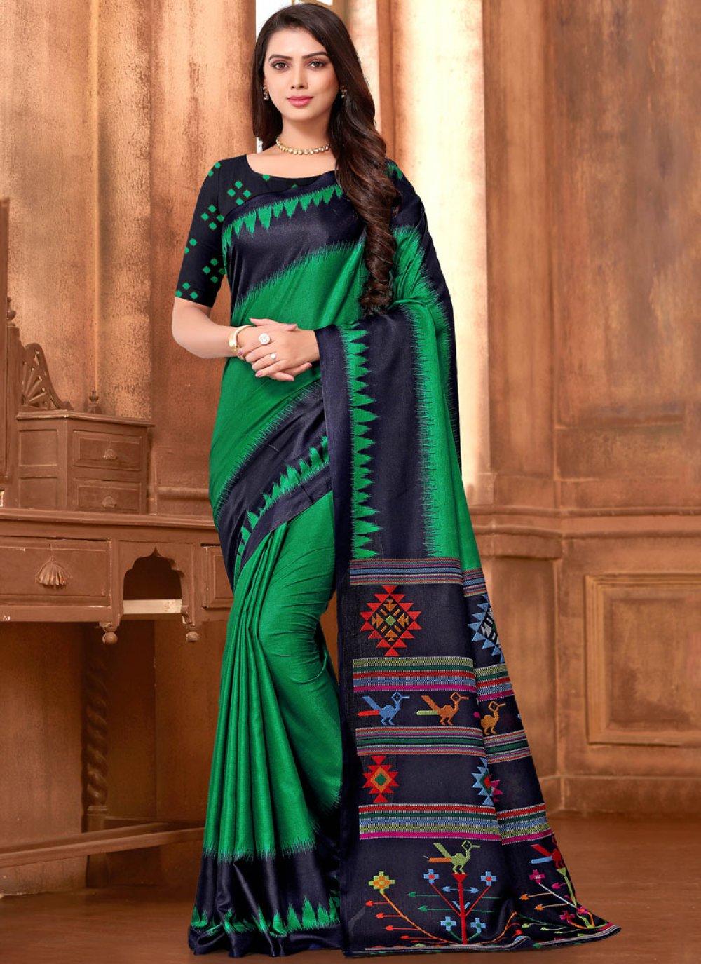 Green Abstract Print Art Silk Printed Saree