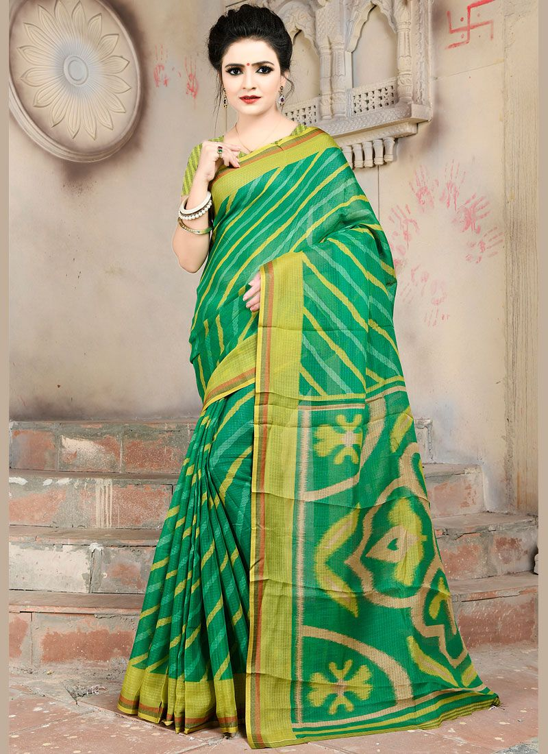 Green Abstract Print Casual Printed Saree