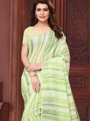 Green Abstract Print Casual Saree