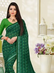 Green Abstract Print Faux Georgette Printed Saree