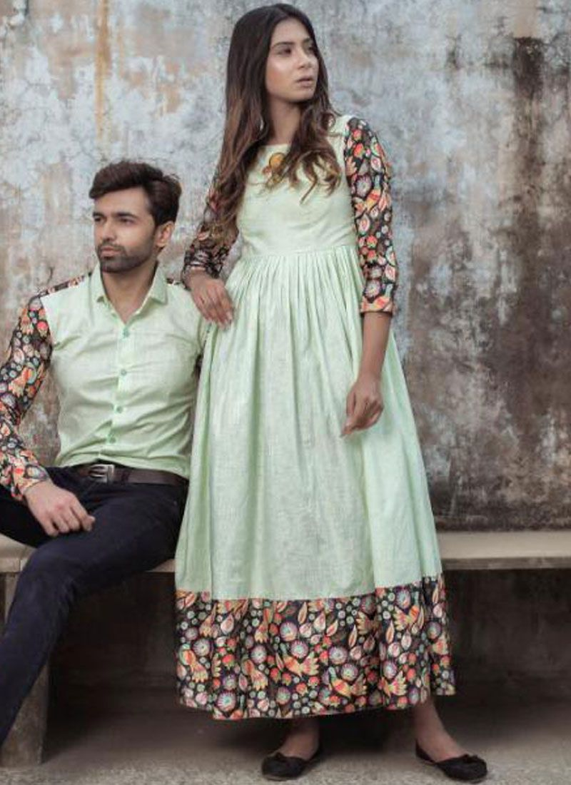 Green Abstract Print Party Party Wear Kurti
