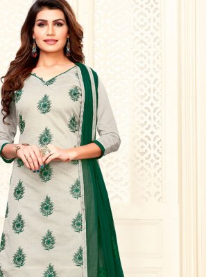 Green and Grey Festival Art Silk Churidar Suit