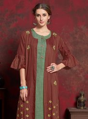 Green and Maroon Festival Cotton Party Wear Kurti