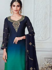 Green and Navy Blue Stone Work Sangeet Churidar Designer Suit