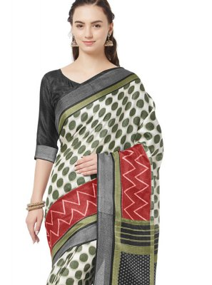 Green and Off White Printed Casual Casual Saree