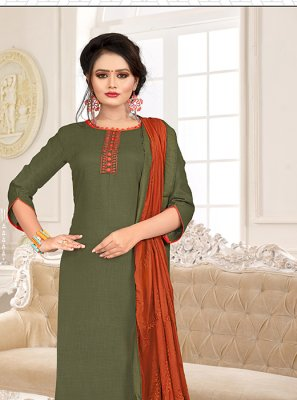 Green and Orange Cotton Trendy Churidar Salwar Kameez