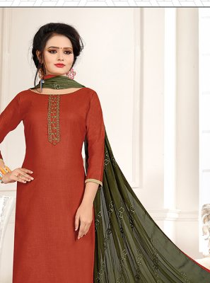 Green and Orange Embroidered Churidar Designer Suit