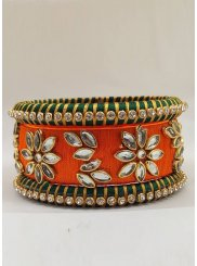 Green and Orange Stone Work Bangles