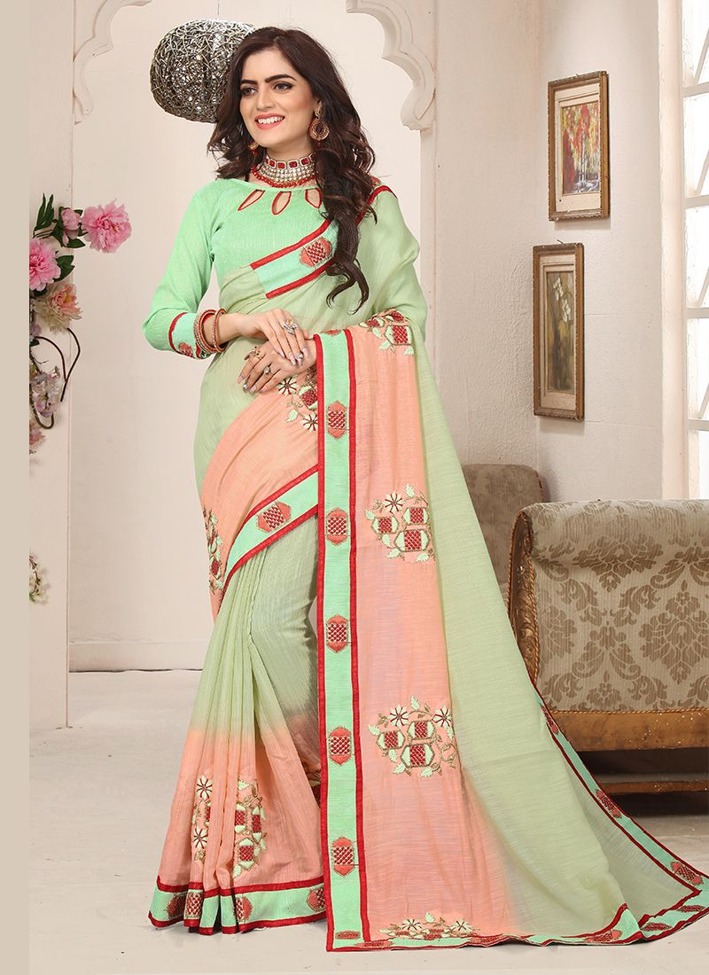 Green and Peach Embroidered Ceremonial Shaded Saree