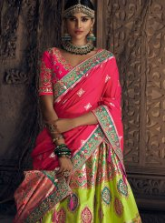 Green and Pink Embroidered Lehenga Choli