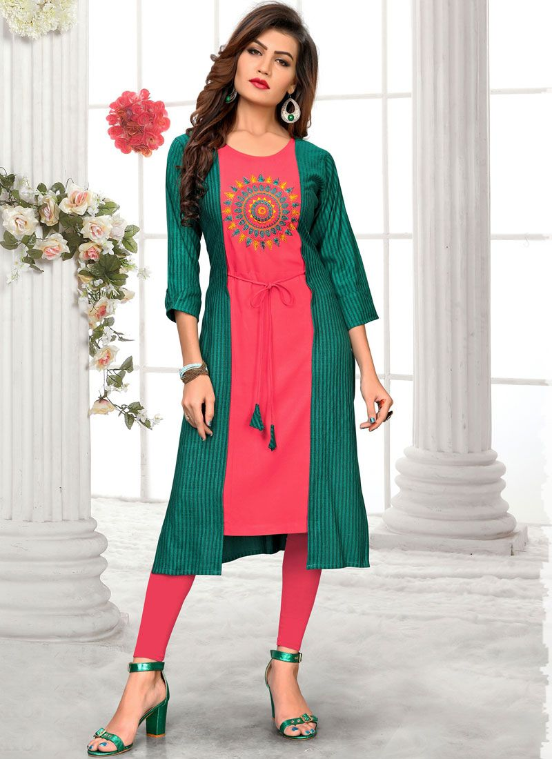 Green and Pink Festival Party Wear Kurti