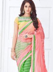 Green and Pink Half N Half  Saree