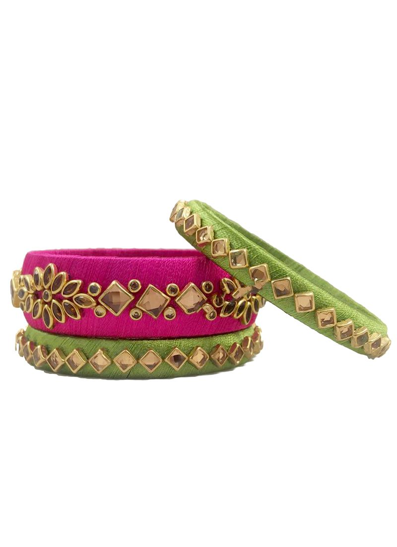 Green and Pink Stone Work Sangeet Bangles