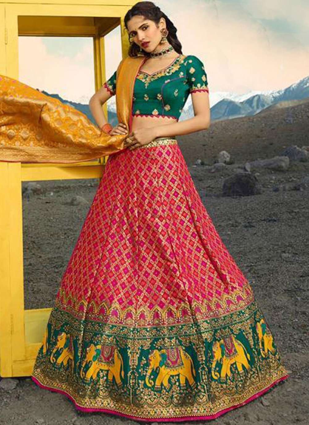 Green and Rani Zari Bridal Lehenga Choli