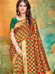 Green and Red Art Banarasi Silk Printed Printed Saree
