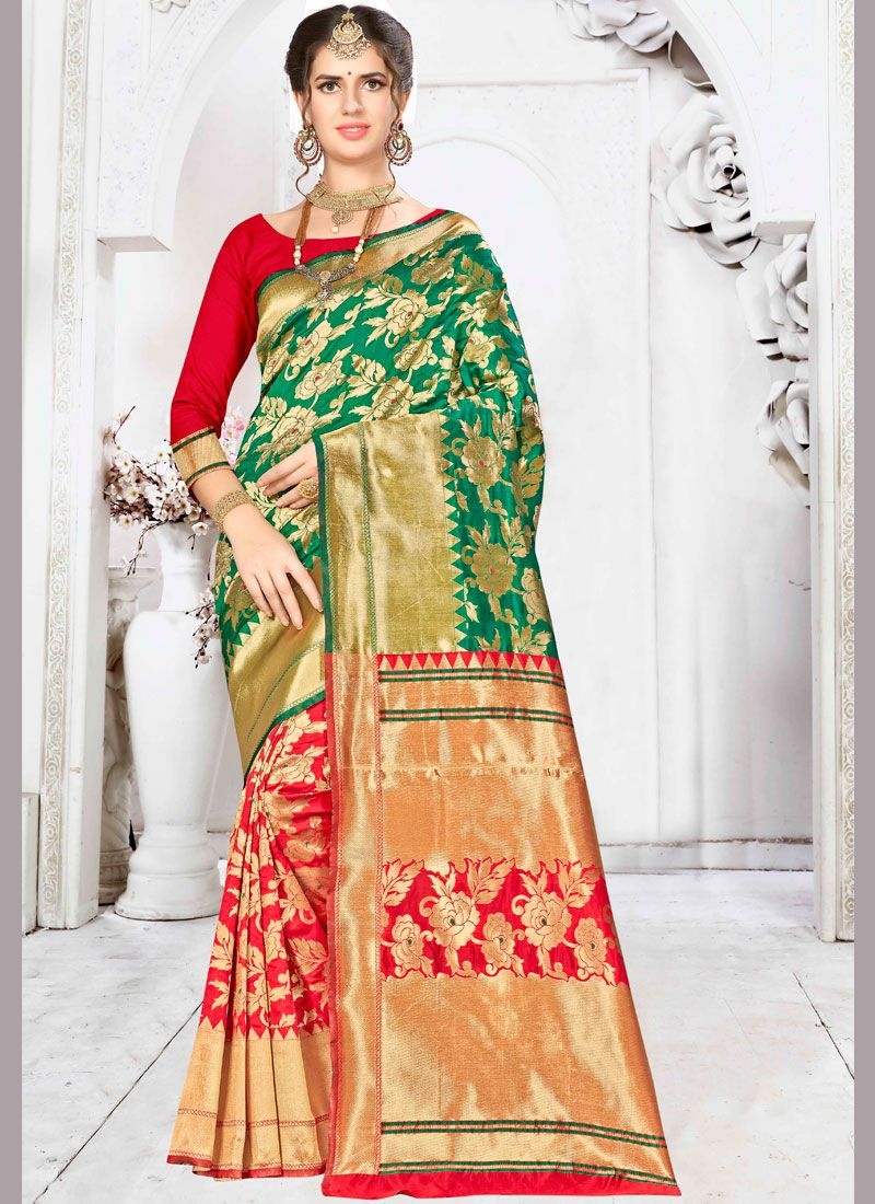 Green and Red Ceremonial Half N Half  Saree